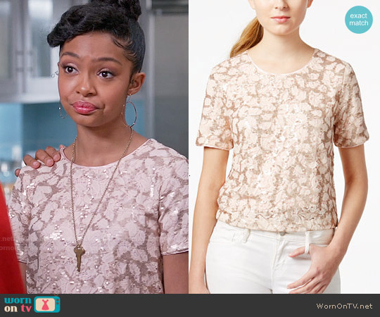 Maison Jules Lace Sequin Top worn by Yara Shahidi on Blackish