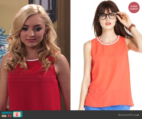 Maison Jules Sleeveless Beaded Tank worn by Peyton List on Jessie
