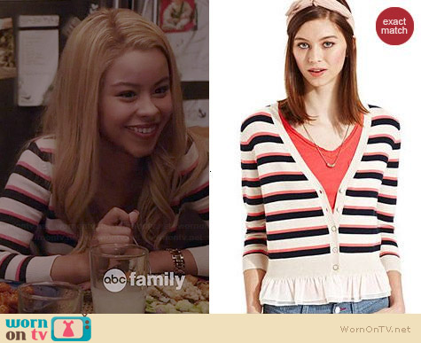 Maison Jules Striped Ruffle Cardigan worn by Cierra Ramirez on The Fosters