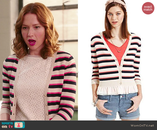 Maison Jules Striped Ruffle Cardigan worn by Ellie Kemper on Unbreakable Kimmy Schmidt