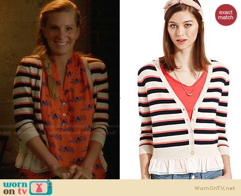 Maison Jules Striped Ruffle Cardigan worn by Heather Morris on Glee
