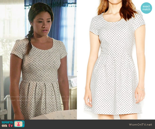Maison Jules Zip Back Polka Dot Dress worn by Gina Rodriguez on Jane the Virgin