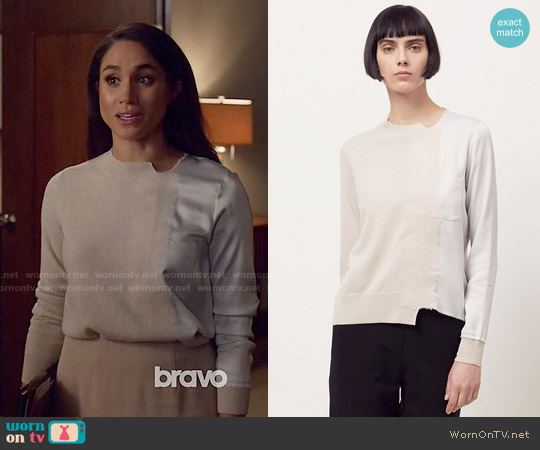 Maison Margiela Satin Applique Sweater worn by Meghan Markle on Suits