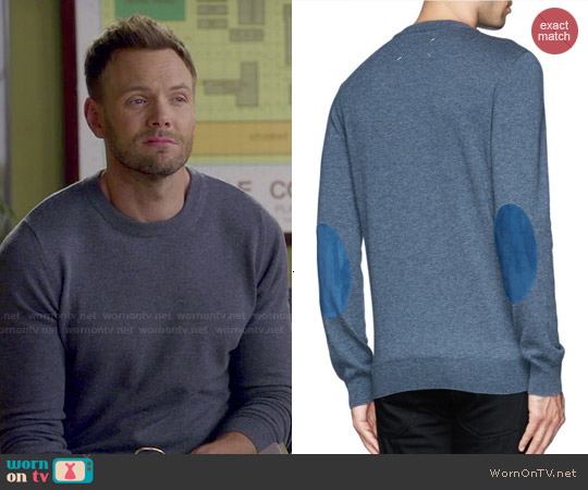 Maison Margeila Suede Elbow Patch Wool Sweater worn by Joel McHale on Community