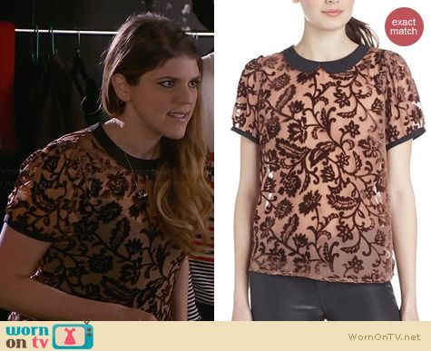 Maison Scotch Sheer Top with Velvet worn by Molly Tarlov on Awkward