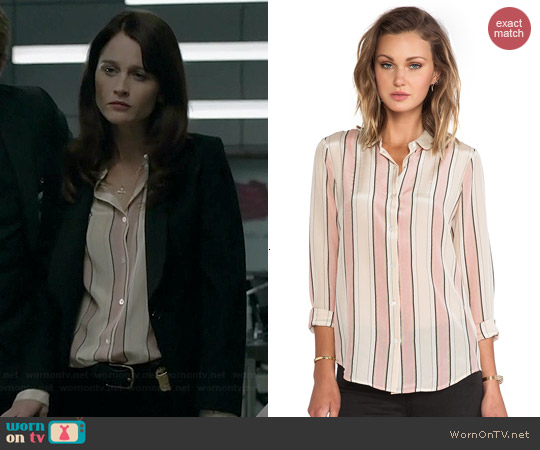 Maison Scotch Stripe Print Silk Shirt worn by Robin Tunney on The Mentalist
