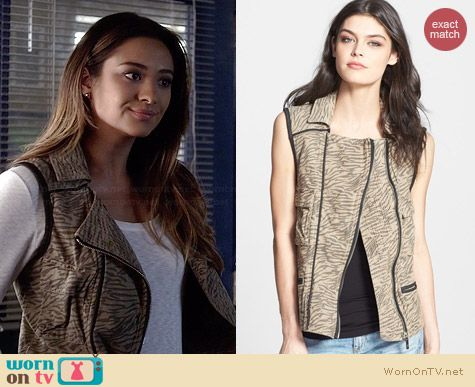 Maison Scotch Zebra Cargo Vest worn by Shay Mitchell on PLL