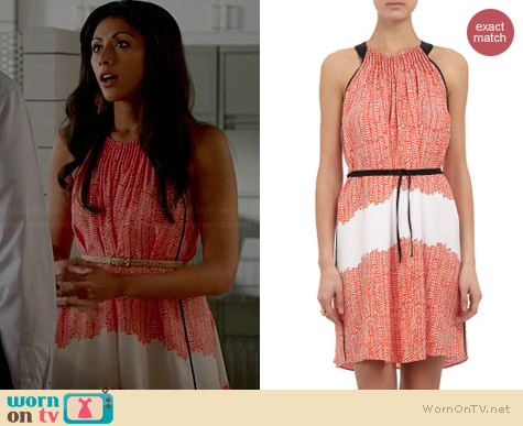 Maiyet Block Printed Halterneck Dress worn by Reshma Shetty on Royal Pains