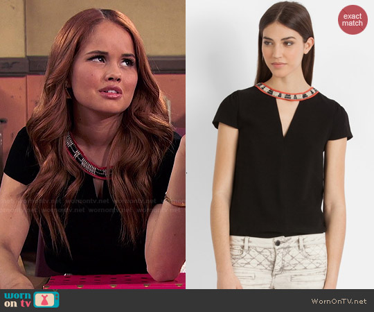 Maje 'Bijoux Encolure' Embellished Top worn by Jessie Prescott on Jessie