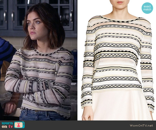 Maje Mauritani Striped Sweater worn by Lucy Hale on PLL