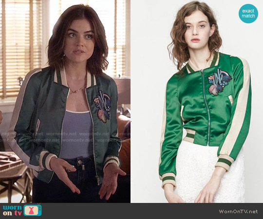 Maje Bacary Jacket worn by Lucy Hale on PLL