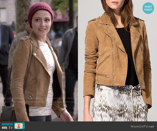 Maje Basalta Suede Moto Jacket worn by Italia Ricci on Chasing Life