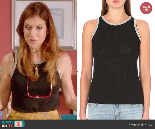 Maje Bead Trim Linen Tank worn by Kate Walsh on Bad Judge