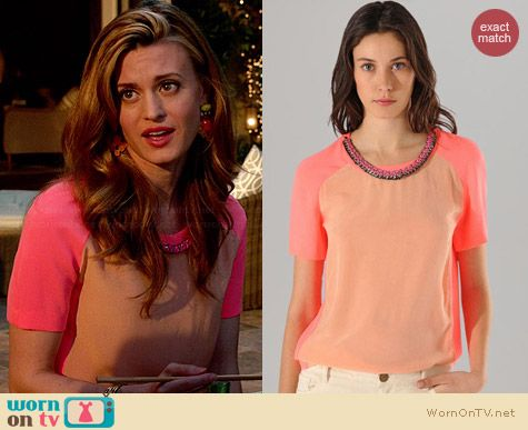 Maje Color Block Top with Chain Collar worn by Brooke D'Orsay on Royal Pains