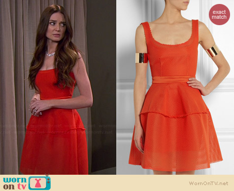 Maje Diva Honeycomb Mesh Dress worn by Mallory Jansen on Young & Hungry