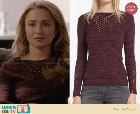 Maje Dramaturg Perforated Sweater worn by Hayden Panettiere on Nashville