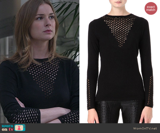 Maje Dramaturg Sweater in Black worn by Emily VanCamp on Revenge