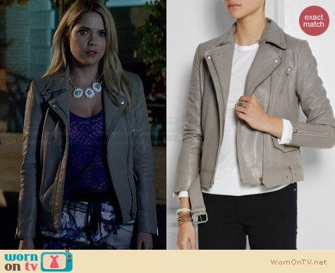 Maje Edouard Leather Jacket worn by Ashley Benson on PLL
