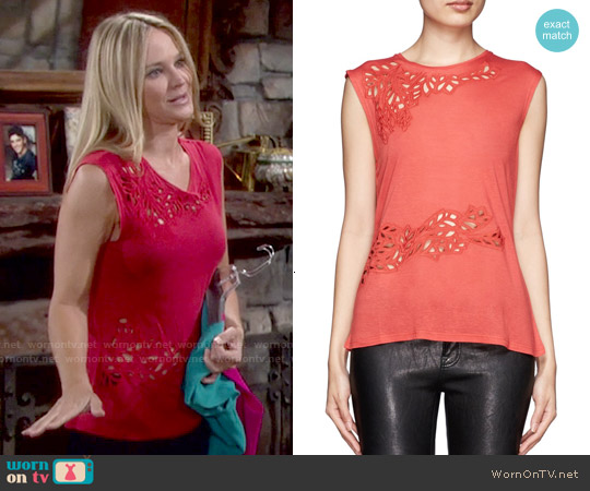 Maje Elan Leaf Cutout Top worn by Sharon Case on The Young & the Restless