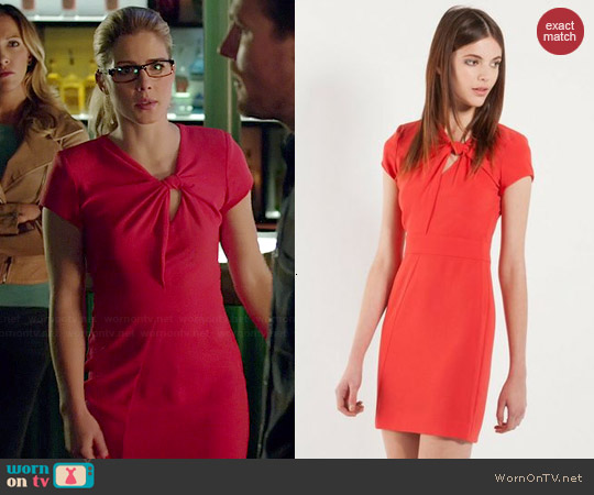 Maje Fashion Knotted Dress worn by Emily Bett Rickards on Arrow