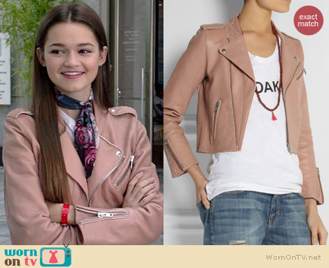 Maje Flac Leather Jacket worn by Ciara Bravo on Red Band Society