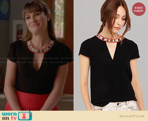 Maje Fraiche Woven Neck Top worn by Lea Michele on Glee