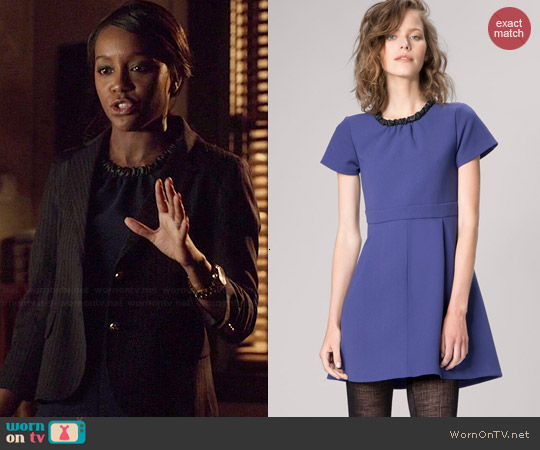 Maje Guimet Accent Collar Babydoll Dress worn by Aja Naomi King on HTGAWM