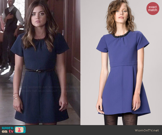 Maje Guimet Accent Collar Babydoll Dress worn by Lucy Hale on PLL