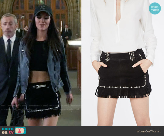 Maje Jacob Fringed and Studded Leather Skirt worn by Alexandra Park on The Royals