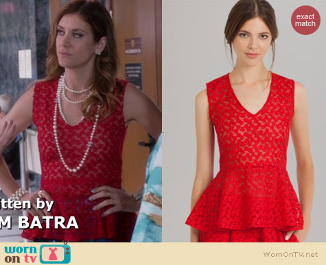 Maje Lace Peplum Top worn by Kate Walsh on Bad Judge