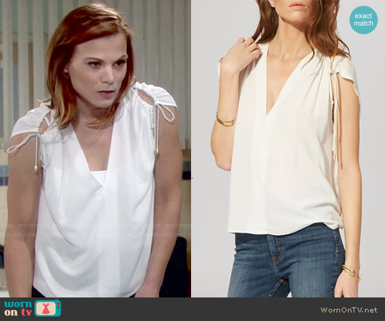 Maje Laeti Cinch Shoulder Top worn by Gina Tognoni on The Young & the Restless