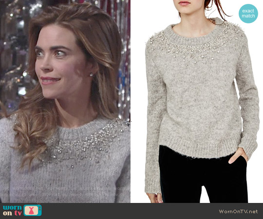 Maje Manor Embellished Sweater worn by Amelia Heinle on The Young & the Restless