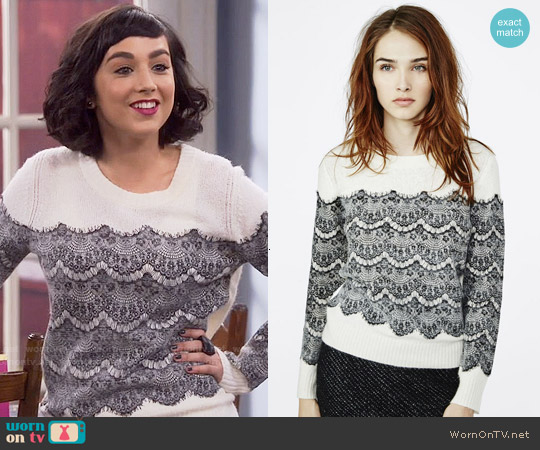 Maje Mesh Sweater with Applied Lace worn by  Molly Ephraim on Last Man Standing