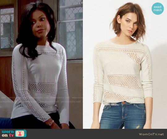 Maje Milord Perforated Sweater worn by Karla Mosley on The Bold & the Beautiful