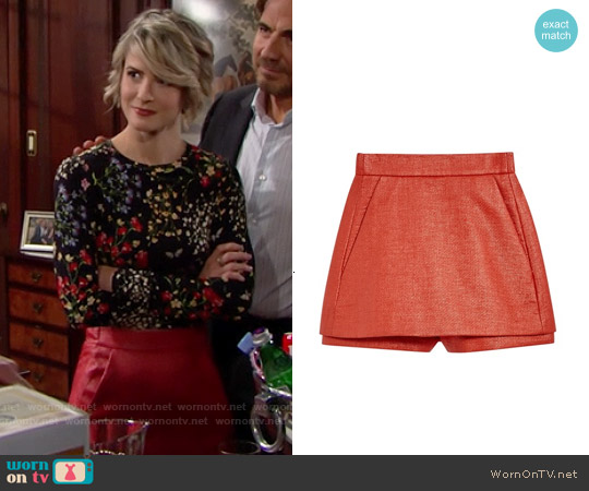 Maje Paca Leather Look Skort worn by Caroline Spencer on The Bold & the Beautiful