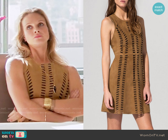 Maje Cross Perforated Suede Dress worn by Beau Garrett on GG2D