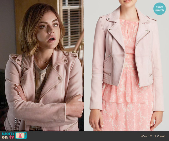 Maje Pink Leather Jacket worn by Lucy Hale on PLL