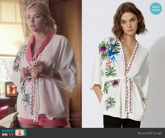 Maje Ramses Floral Jacket worn by Ashley Benson on PLL