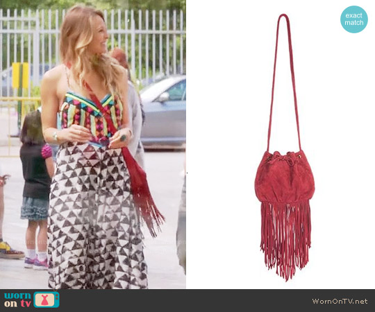 Maje Fringed Bucket Bag worn by Beau Garrett on GG2D