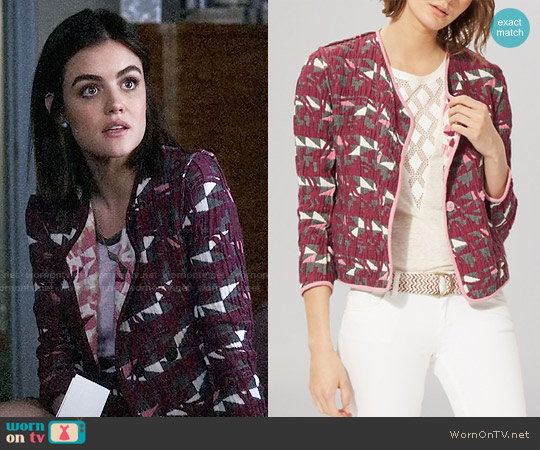 Maje Reversible Jacquard Jacket worn by Lucy Hale on PLL