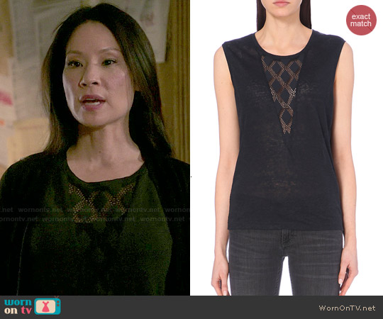 Maje Tao Lace Inset Linen Top worn by Lucy Liu on Elementary