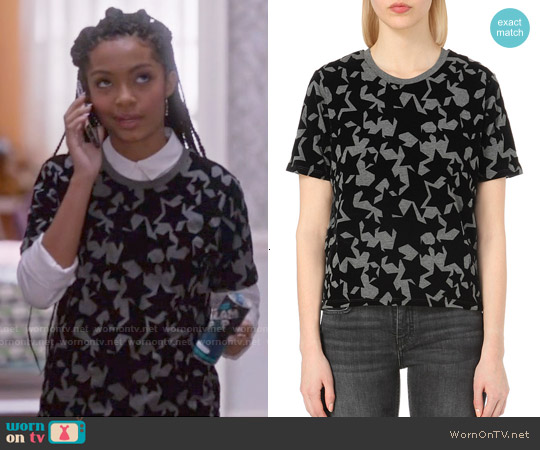 Maje 'Temporair' Star Print T-shirt worn by Yara Shahidi on Blackish