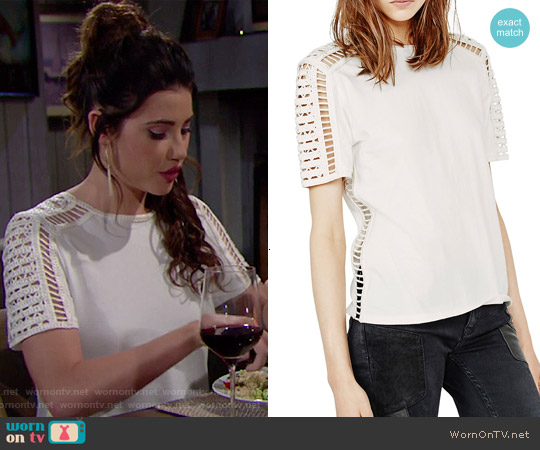 Maje Titre Embroidered Cutout Tee worn by Jacqueline MacInnes Wood on The Bold & the Beautiful