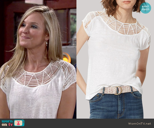 Maje Tralala Macrame Tee worn by Sharon Case on The Young & the Restless