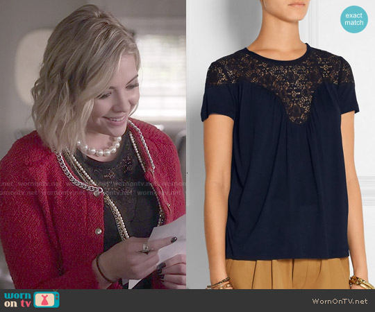 Maje Twister Jersey Lace Top worn by Ashley Benson on PLL