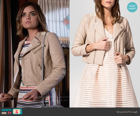 Maje Vicky Leather Jacket worn by Aria Montgomery on PLL