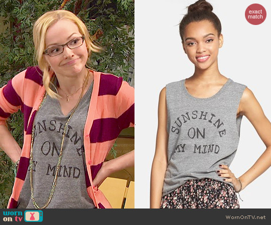 Malibu Native 'Sunshine On My Mind' Muscle Tee worn by Dove Cameron on Liv & Maddie