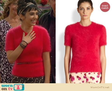 Mandy Baxter Fashion: Michael Kors Short Sleeve Angora Blend Sweater worn on Last Man Standing