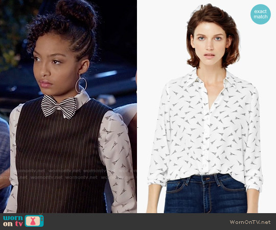 Mango Eiffel Tower Printed Shirt worn by Yara Shahidi on Blackish