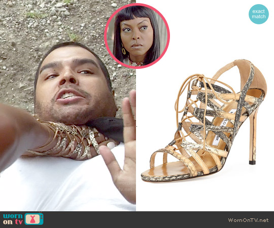 Manolo Blahnik Ostramma Snakeskin Cage Sandal worn by Taraji P. Henson on Empire